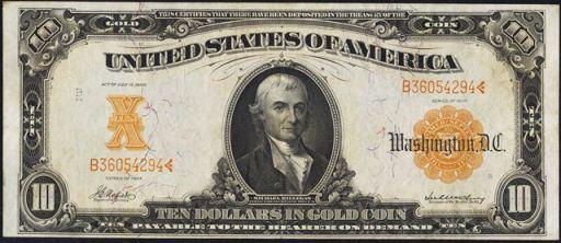 Antique Money – Value of $10 Gold Certificate