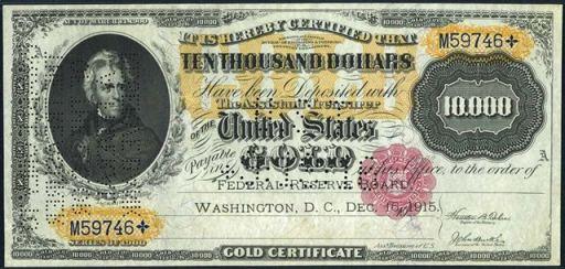 Value of $10,000 Gold Certificate   Antique Money