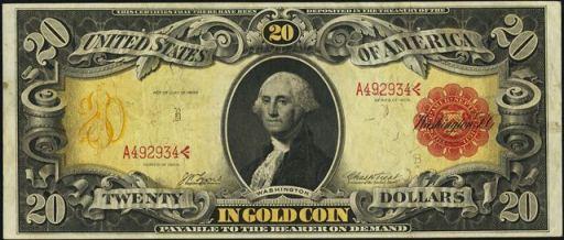 Antique Money – Value of $20 Gold Certificate