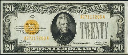 Antique Money Value Of 20 Gold Certificate