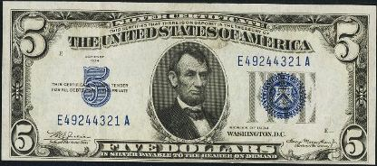 Antique Money – Value of $5 Silver Certificate