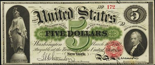 7413 Series 1953 $5.00 Five Dollar Red Seal Notes in Good Or Better Condition