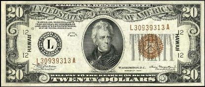 Antique Money Value Of Bills Marked With Hawaii