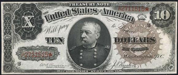 Antique Money Ten Dollar Treasury Notes 1890 1891