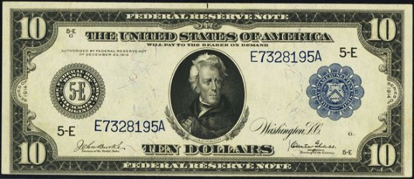 Antique Money 10 Blue Seal Federal Reserve Note 1913 1914