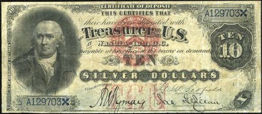 Antique Money Ten Dollar Bills From The 1870s