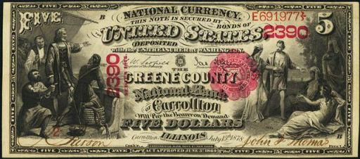 Antique Money Five Dollar Bills From The 1880s