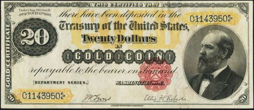 Antique Money Twenty Dollar Bills From The 1880s