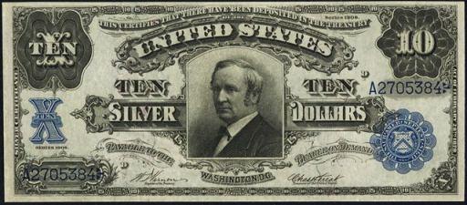antique money ten dollar bills from the 1900s