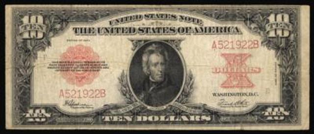 1923 $10 bill in fine condition
