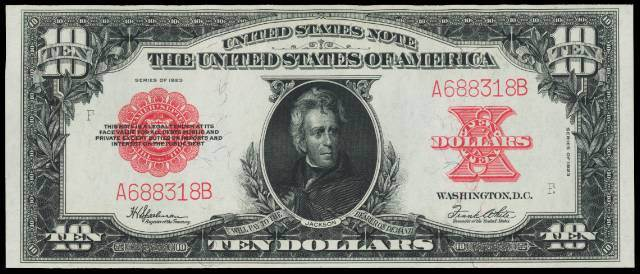 1923 $10 bill in gem condition