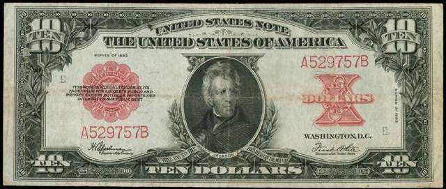 1923 $10 bill in low very fine condition
