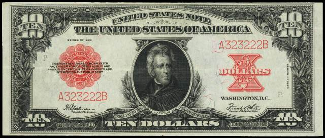 1923 $10 bill in very fine condition