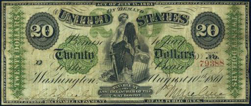 Demand Note – 1861 – Twenty Dollars