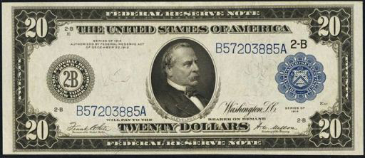 Federal Reserve Note – 1914 Blue Seal – Twenty Dollars