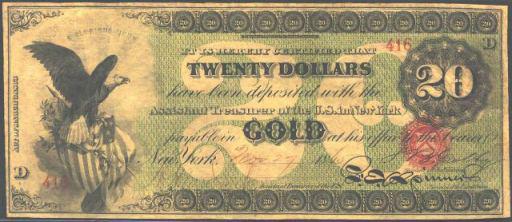 Gold Certificate – 1863 – Twenty Dollars