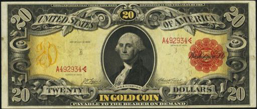 Antique Money Gold Certificate 1905 Twenty Dollars