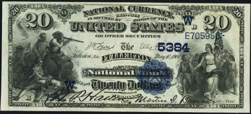 National Currency – 1882 Blue Seal – Twenty Dollars