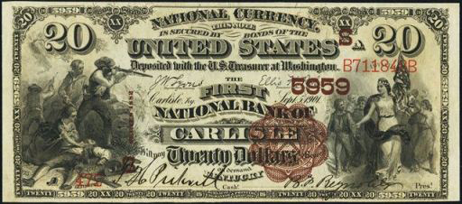 National Currency – 1882 Brown Seal – Twenty Dollars