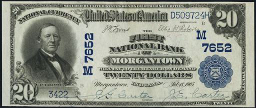 National Currency – 1902 Blue Seal – Twenty Dollars