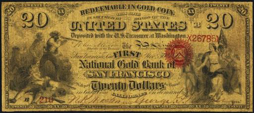National Currency – Gold Bank Note – Twenty Dollars