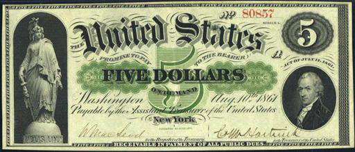 Demand Note $5 Bill (1861 – 1862)