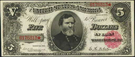 1890 & 1891 $5 Treasury Note