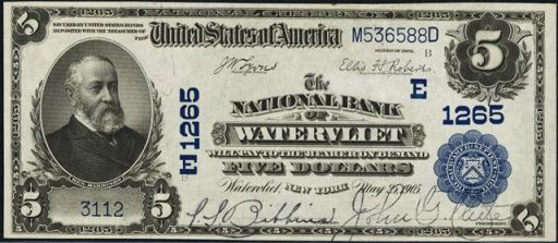 Series of 1902 $5 Blue Seal National Currency