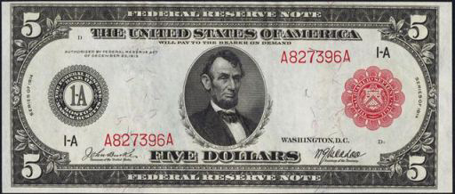 Series of 1914 $5 Federal Reserve Note (Red Seal)