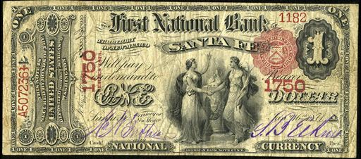 Antique Money Old Money From The First National Bank Of Santa Fe