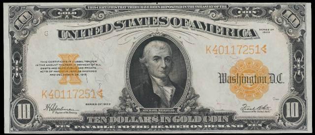 antique money value of 1922 10 gold certificate bill