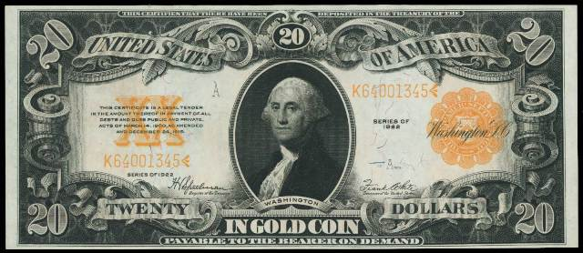 1922 $20 Gold Certificate Bill | Information, Price Guide, and ...