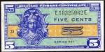 Value of Series 521 5 Cent Military Payment Certificate