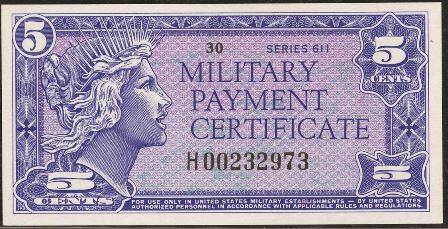 Antique Money Value Of Series 611 5 Cent Military