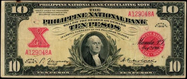 Text Philippine National Bank Circulating Note The Will Pay Bearer On Demand Ten Pesos In Lawful Currency Of