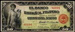 Value of 1908 Cincuenta Pesos El Banco Espanol Filipino Cincuenta Pesos