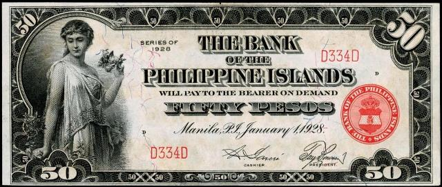 Value Of 1928 Fifty Pesos Bank The
