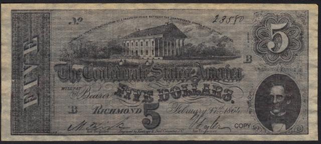 Antique Money – FAKE ALERT: Confederate States Of America $5