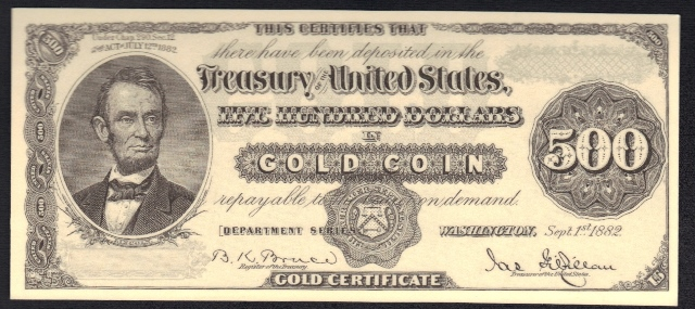 Antique Money Fake Alert Sept 1st 1882 500 Gold