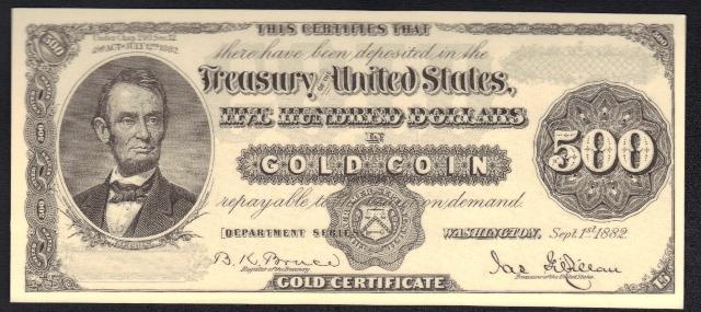 Antique Money Fake Alert Sept 1st 1882 500 Gold