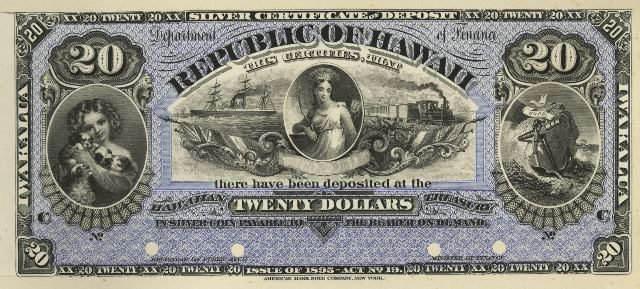 Value of 1895 $20 Republic of Hawaii Silver Certificate | Antique Money