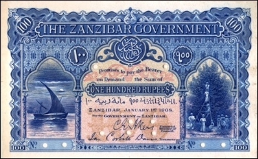Value Of Zanzibar August 1st 1916 100 Rupees Bank Note