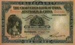 Value of Chartered Bank of India, Australia & China $100 Bank Note (1929-1930)