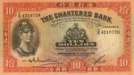 Value of Chartered Bank of India, Australia & China $10 Bank Note 6th December 1956