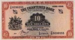 Value of Chartered Bank of India, Australia & China $10 Bank Note (1959-1962)