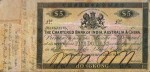 Value of Chartered Bank of India, Australia & China $5 Bank Note 1860s