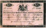 Value of Chartered Bank of India, Australia & China $5 Bank Note 2nd January 1865