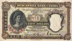 Mercantile Bank of India Limited Fifty Dollar Bill Value