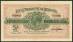 Value of 1st August 1920 Five Shillings Bank Note from Bermuda