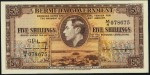 Value of 12th May 1937 Five Shillings Bank Note from Bermuda